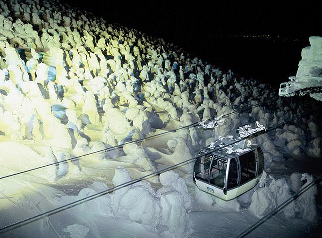 蔵王 樹氷 ライトアップ ロープウェイ 写真