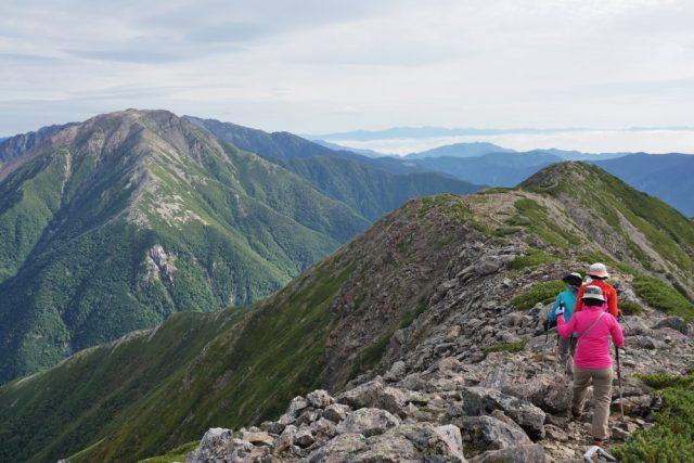聖岳 日本百名山 稜線 尾根